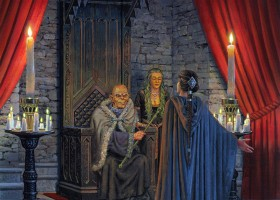 Lord Walder Frey and Catelyn ~ Illustration by TED NASMITH